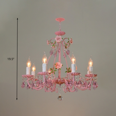 Candle Living Room Ceiling Chandelier Traditional K9 Crystal 3/5/8 Heads Pink Hanging Light Fixture