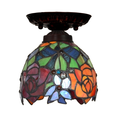 Domed Red/Pink/Orange Cut Glass Flush Light Fixture Mediterranean 1 Light Bronze Close to Ceiling Lamp