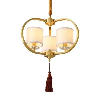 Drum Fabric Ceiling Chandelier Classic 3/6 Lights Dining Room Pendant Lighting Fixture in Brass