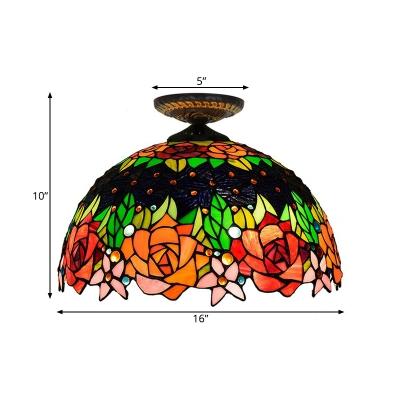 Flower Ceiling Flush Tiffany-Style Stained Art Glass 1 Head Black/Yellow Flush Mount Lighting Fixture