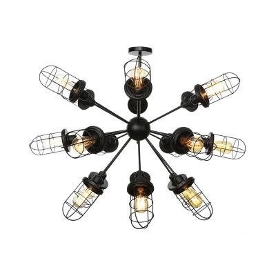 Lustre Sputnik de style industriel éclairant la lumière de suspension de salon en métal 9/12/15 avec abat-jour en cage en noir