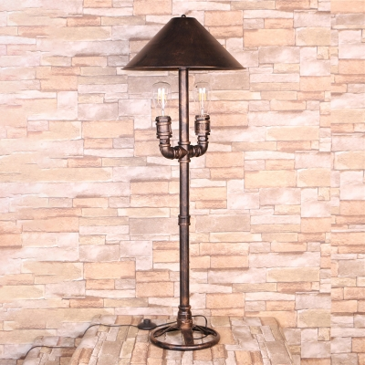 Metal Antique Style Bronze Table Lamp Conical 2 Lights Vintage Desk Light for Indoor