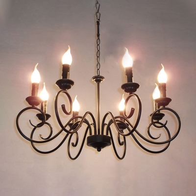 Metal Black Hanging Chandelier Scrolled Arm 8 Heads Tradition Ceiling Pendant Light