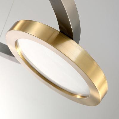 Metal Circular Pendant Lighting Postmodern Brass LED Hanging Chandelier in Warm/White Light