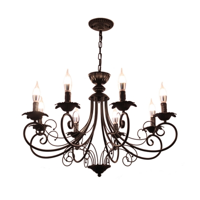 Metal Starburst Ceiling Chandelier Tradition 3/6/8 Heads Pendant Light Fixture in Black/White