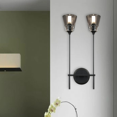 Minimalist Tapered Wall Mount Lamp 1/2 Heads Clear Glass LED Wall Sconce in Black/Brass