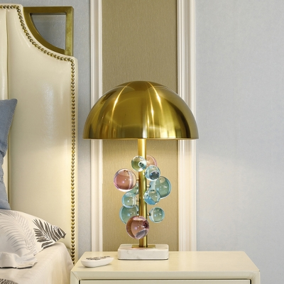 Modern Domed Shaped Task Lighting Metal 1 Light Bedroom Small Desk Lamp in Gold with Colored Crystal Ball Deco