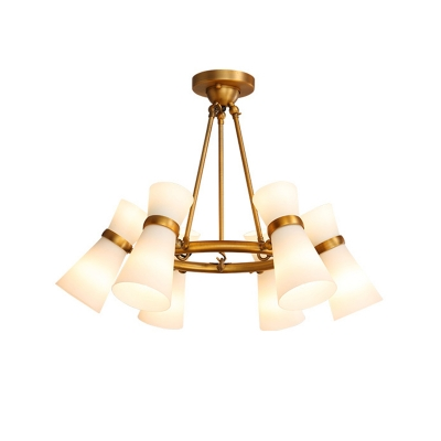 Modern Flared Pendant Chandelier Frosted White Glass 16 Heads Ceiling Suspension Lamp in Gold/Black