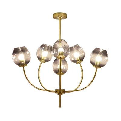 Modernism Cup Ceiling Chandelier Smoke Glass 6 Heads Living Room Pendant Light Fixture with Metal Curved Arm