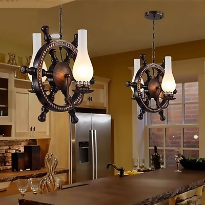 Nautical Steering Wheel Pendant Lamps Wood and Glass 2 Heads Hanging Ceiling Lights for Restaurant, HL560467