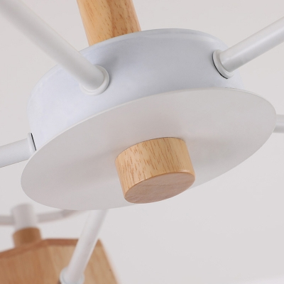 Nordic Starburst Chandelier Pendant Light Wood 3/8 Heads Dining Room Suspension Light
