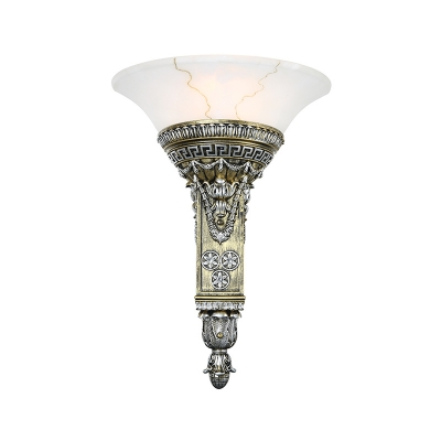 Resin Carved Wall Lighting Vintage Stylish 1 Light Living Room Aged Silver Sconce Lamp with Flared White Glass Shade