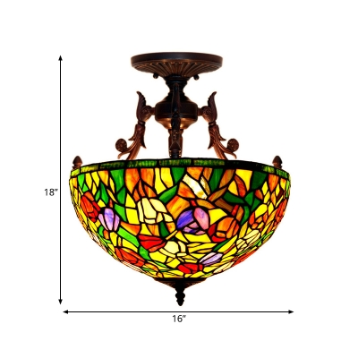Stained Glass Red/Orange/Green Semi Flush Ceiling Light Flower Bush 3 Lights Mediterranean Lighting Fixture for Living Room