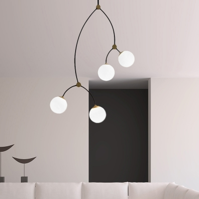 4 Lights Branch Hanging Light with Ball Glass Shade Art Deco Chandelier Light in Brass