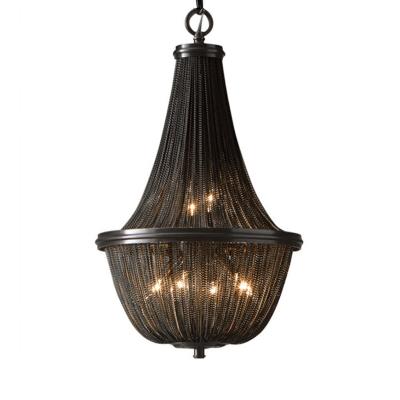 6/8 Lights Chain Fringe Chandelier Traditional Black Metallic Pendant Lamp for Dining Room, 13