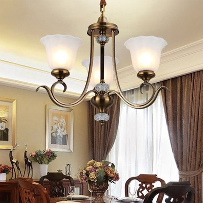 Bell Living Room Pendant Chandelier Traditional Opal Blown Glass 3/6/8 Heads Bronze Hanging Ceiling Light