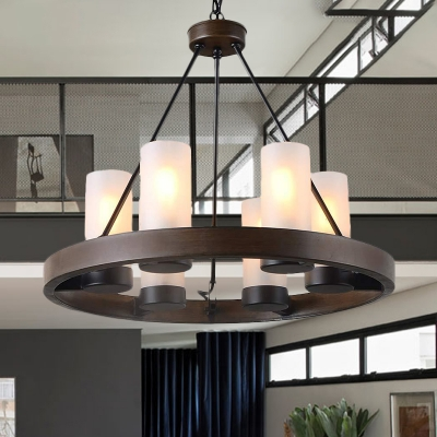 Black 6 Heads Chandelier Light Traditionalism Frosted White Glass Wagon Wheel Suspended Lighting Fixture for Dining Room