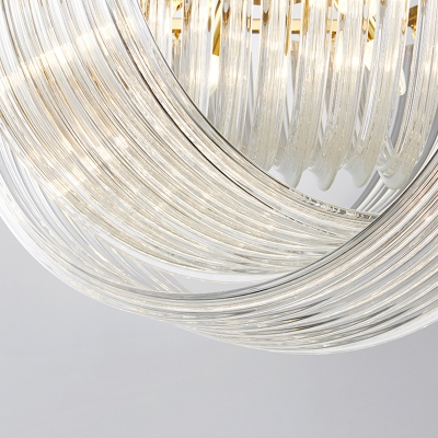 Brass Dome Chandelier Light Simple Style 4/6 Heads Curved Prism Glass Strip Hanging Lamp, 19.5