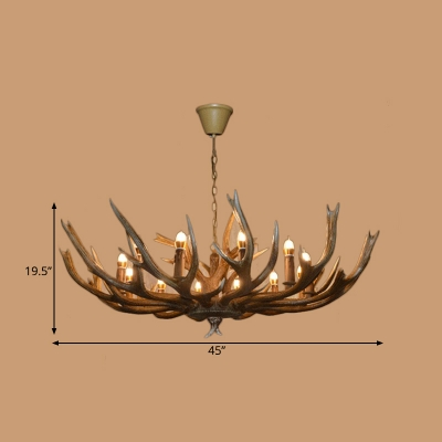 Brown Branch Pendant Chandelier Cottage Resin 6/8/12 Heads Hanging Ceiling Light with Adjustable Metal Chain
