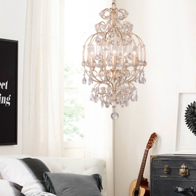Candle Crystal Pendant Chandelier Traditional 5 Lights Bedroom Hanging Light Kit in Gold