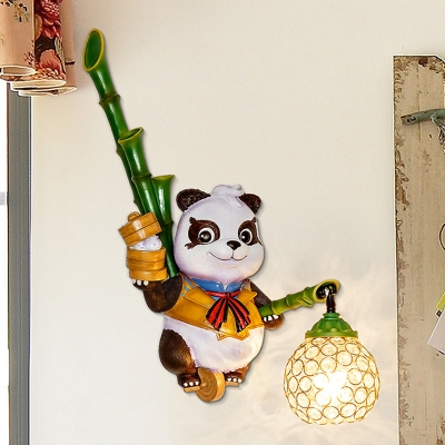 Clear Crystal Dome Wall Light Sconce Country Style 1 Head Wall Lamp with Panda Design in Black/Red/Yellow