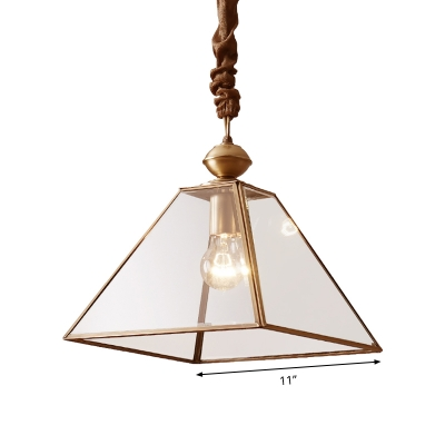 Clear/Frosted Glass Pyramid Ceiling Lamp Minimalist 1 Head Living Room Suspension Pendant Light