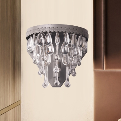 Countryside Teardrop Wall Mounted Lamp 1 Light Crystal Sconce Light Fixture in Bronze/Gray for Bedroom