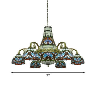 Curved Arm Chandelier Lighting 11 Lights Cut Glass Mediterranean Hanging Lamp in Blue and Purple/Pink and Blue for Living Room