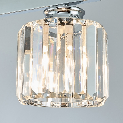Cylinder Dining Room Island Light Traditional Tri-Sided Crystal Rod 3/4 Heads Silver Chandelier Pendant Light