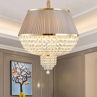 Dome Dining Room Ceiling Pendant Light Traditional Crystal Strand 5 Heads Blue/Gray Hanging Chandelier