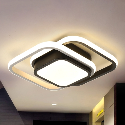 LED Flush Light Contemporary Black Ceiling lamp with Round/Square Acrylic Shade in Warm/White/3 Color Light