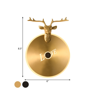 LED Round Wall Lamp Traditionary Metal Sconce Light Fixture in Brass/Black with Elk