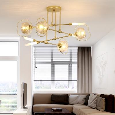 Metal Starburst Chandelier Lamp Modernism 6/8 Heads Gold Pendant Lighting Fixture