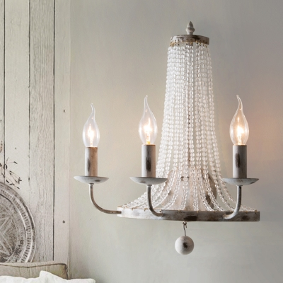 Nickle 2/3 Lights Wall Lighting Retro Metal Candelabra Wall Mount Light with Clear Crystal Bead
