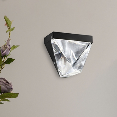 Retro Triangle Wall Mount Lamp LED Clear K9 Crystal Wall Sconce Light in Gold/Black