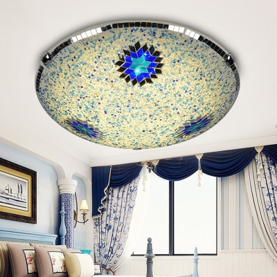 Round Flush Mount 2/3/4 Lights Stained Glass Mediterranean Flush Ceiling Light in Yellow and Blue, 12