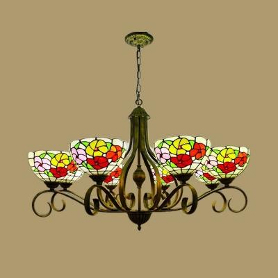 Stain Glass Antique Brass Chandelier Lighting Flower 3/6/8 Lights Mediterranean Pendant Lamp