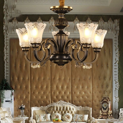 Traditional Flower Hanging Pendant 5 Heads Frosted Glass Ceiling Chandelier in Black and Gold for Living Room