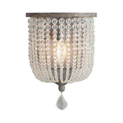 White/Gray Beaded Wall Lighting Countryside Clear Crystal 1 Light Bedroom Sconce Light Fixture