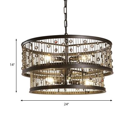 2-Tier Bedroom Chandelier Lighting Antique Metal 6 Bulbs Bronze Pendang Light Fixture