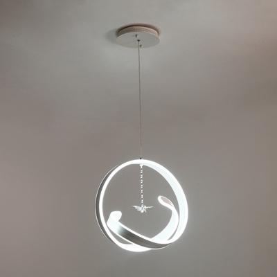 Acrylic Twist Chandelier Light Fixture Minimalist White LED Hanging Light Kit in Warm/White Light