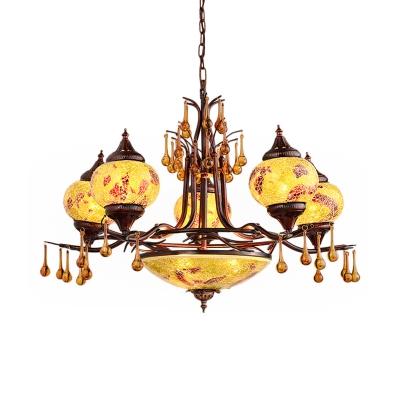 Blue/Yellow Glass Oval Chandelier Lamp Bohemia 8 Heads Living Room Pendant Light Fixture