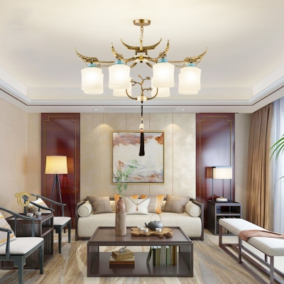 Brass 6/8/10 Heads Chandelier Lighting Traditionalism Frosted White Glass Cylinder Pendant Ceiling Light for Living Room