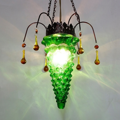 Bronze 1 Light Pendant Lighting Moroccan Red/Green/Blue Textured Glass Tapered Ceiling Suspension Lamp for Restaurant