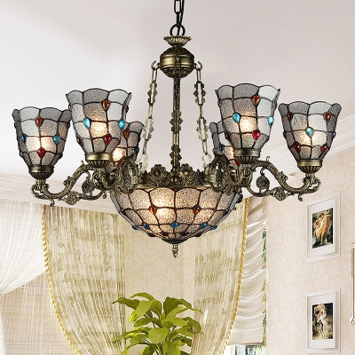 Bronze Beaded Ceiling Chandelier Tiffany-Style 9/11 Bulbs Seeded Glass Suspension Pendant Light for Living Room, HL582388