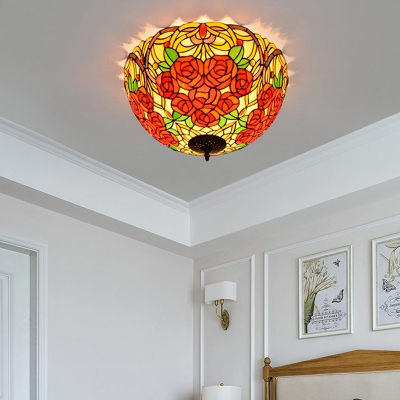 Bronze Grape/Rose Ceiling Lamp Victorian 5 Bulbs Multicolored Stained Glass Flush Mount Lighting