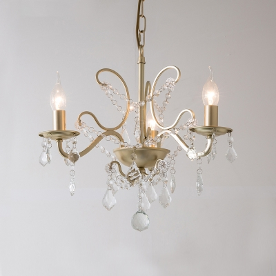 Candle Chandelier Lamp Traditional Metal 3 Heads Gold Suspension Pendant Light with Crystal Bead