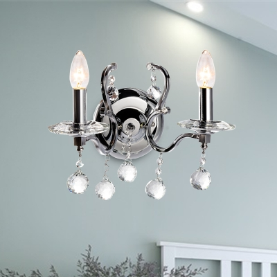 Chrome 1/2 Lights Wall Sconce Lighting Traditional Metal Candle Wall Mount Light with Clear Glass Ball