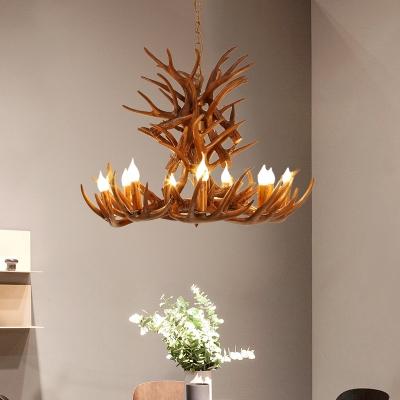 Cottage Faux Antler Chandelier Lighting Resin 9/12 Heads Hanging Pendant Light in Brown