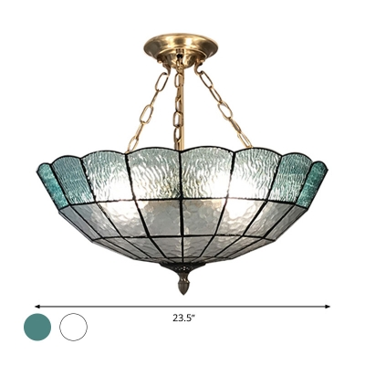 Dome Shade Blue/Clear Glass Hanging Chandelier Tiffany Style 3/4/5 Lights Brass Pendant Lighting
